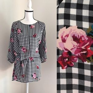 NWT Size 24 Lane Bryant Gingham and Floral Blouse